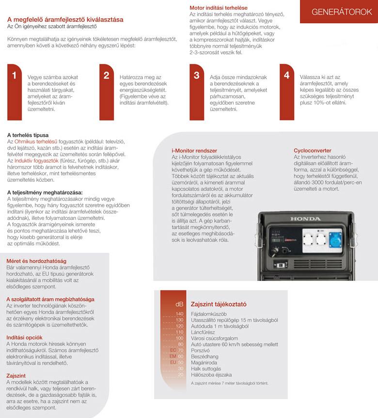 Honda generátor információk